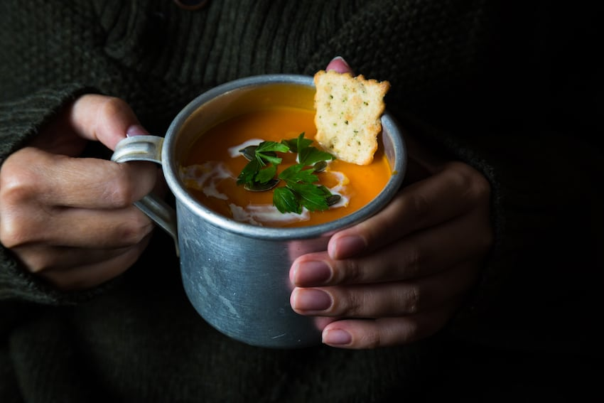 Close-up of warming, healthy winter soup
